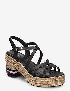TOMMY SEQUINS MID HEEL SANDAL - heeled espadrilles - black