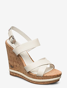 CORP LEATHER  WEDGE SANDAL - højhælede espadrillos - white