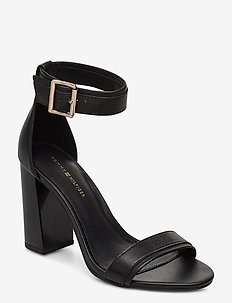 TOMMY STRIPY HIGH HEEL SANDAL - BLACK