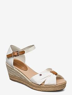 BASIC OPEN TOE MID WEDGE - heeled espadrilles - ivory
