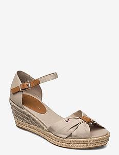 BASIC OPEN TOE MID WEDGE - heeled espadrilles - stone