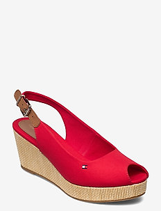 ICONIC ELBA SLING BACK WEDGE - wedges - primary red