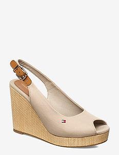 ICONIC ELENA SLING BACK WEDGE - heeled espadrilles - stone