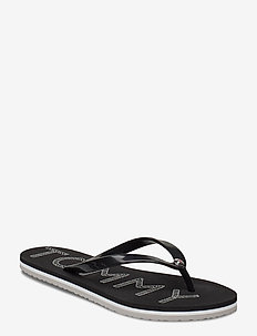 TH FOOTBED FLAT BEACH SANDAL - flip flops - black