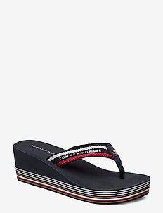 STRIPY WEDGE BEACH SANDAL - flip flops - rwb