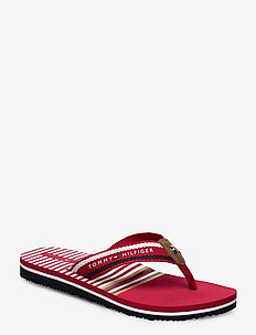 STRIPY FLAT BEACH SA - flip flops - primary red