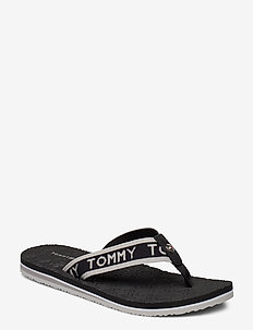 TH EMBOSSED FLAT BEACH SANDAL - varvassandaalit - black