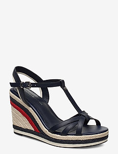 TOMMY STRIPY HIGH WEDGE - SPORT NAVY