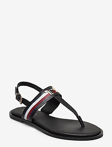 CORPORATE LEATHER FLAT SANDAL - flade sandaler - black