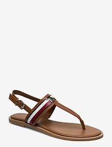 CORPORATE LEATHER FLAT SANDAL - flade sandaler - summer cognac