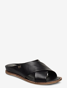 FEMININE LEATHER LOW WEDGE - flade sandaler - black