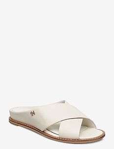 FEMININE LEATHER LOW WEDGE - flade sandaler - white