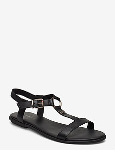 FEMININE LEATHER FLAT SANDAL - flate sandaler - black