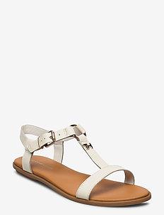 FEMININE LEATHER FLAT SANDAL - flade sandaler - white