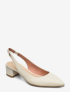 FEMININE LEATHER MID HEEL PUMP - sling backs - white