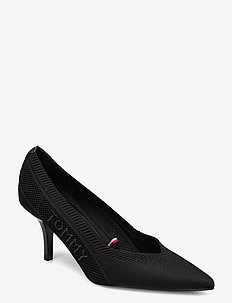 TOMMY KNIT MID HEEL PUMP - klassiske pumps - black