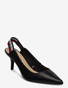 TOMMY STRAP MID HEEL PUMP - sling backs - black