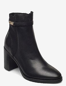 BLOCK BRANDING HIGH HEEL BOOT - heeled ankle boots - black