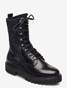 MATERIAL MIX TH BOOTIE - høye boots - black