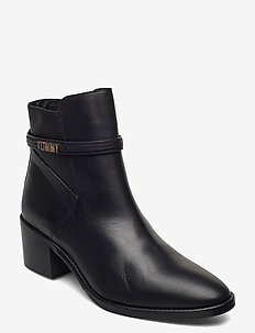 BLOCK BRANDING LEATHER MID BOOT - wysoki obcas - black
