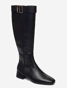 LEATHER SQUARE TOE LONG BOOT - lange laarzen - black