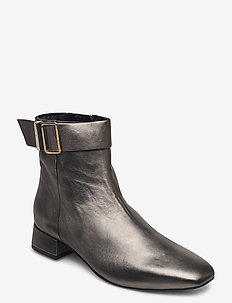 METALLIC SQUARE TOE MID BOOT - heeled ankle boots - dark silver