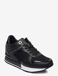 DRESSY WEDGE MAT MIX SNEAKER - lave sneakers - black