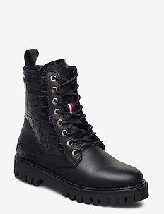 CROCO LOOK FLAT BOOT - flate ankelstøvletter - black