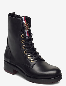 TOMMY ESSENTIAL BIKER BOOT - platta ankelboots - black