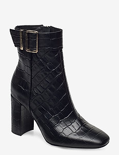 CROCO LOOK HIGH HEEL BOOT - heeled ankle boots - black