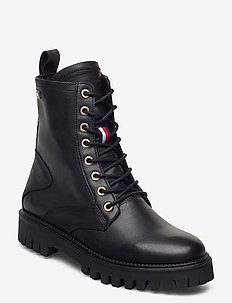 SHADED LEATHER TH BOOTIE - black