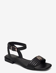 TOMMY PADDED FLAT SANDAL - flat sandals - black