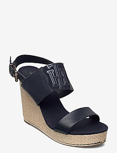 TH ELASTIC HIGH WEDGE SANDAL - espadriller med klack - desert sky