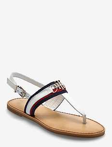 SHIMMERY RIBBON FLAT SANDAL - flat sandals - ecru