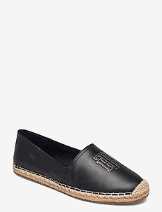 FEMININE LEATHER ESPADRILLE - flat espadrilles - black
