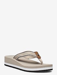 TOMMY MID WEDGE BEACH SANDAL - flat sandals - stone