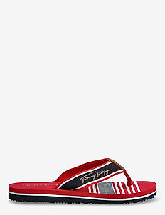 TOMMY SIGNATURE BEACH SANDAL - flat sandals - primary red