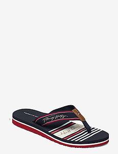TOMMY SIGNATURE BEACH SANDAL - flat sandals - rwb