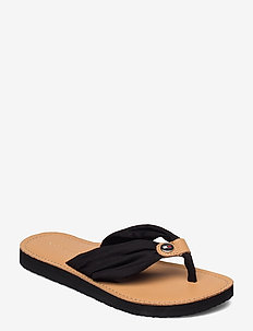 LEATHER FOOTBED BEACH SANDAL - flat sandals - black