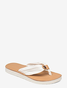 LEATHER FOOTBED BEACH SANDAL - flat sandals - ivory