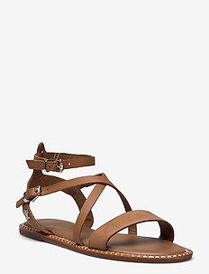 ESSENTIAL TOMMY FLAT SANDAL - flat sandals - summer cognac