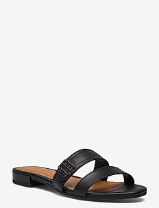 TH HARDWARE FLAT LEATHER MULE - flade sandaler - black