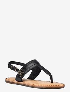 HARDWARE TH FLAT LEATHER SANDAL - flache sandalen - black
