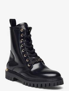 POLISHED LEATHER LACE UP BOOT - flache stiefeletten - black