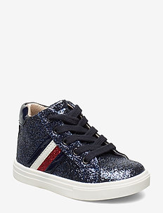 HIGH TOP LACE-UP SNEAKER - BLU