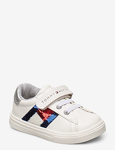 LOW CUT LACE-UP/VELCRO SNEAKER - BIANCO