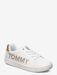 LOW CUT LACE-UP SNEAKER - WHITE/GOLD