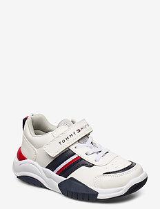 LOW CUT LACE-UP VELCRO SNEAKER - sneakers - white/blue