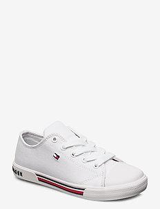 LOW CUT LACE-UP SNEAKER BLUE - sneakers - bianco