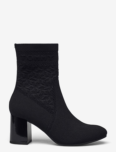 TH KNITTED MID HEEL BOOT - wysoki obcas - black